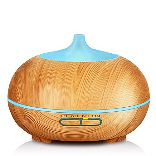 KBAYBO Aroma Diffuser 300ml Holzmaserung luftbefeuchter mit farbenwechselnde elektrisch Duftlampe für Yoga Salon Spa Wohn Schlaf Bade Hotel