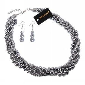 Jerollin Damen Halskette Elegante Harz Kette Kragenschmuck Statement Kette Ohrringen Ohrhaenger Schmuck Set