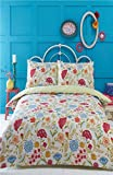 Irvine Single Bed Duvet Cover and 1 Pillowcase Set Bedding, Bed Set, Cream, Blue, Red, Floral, Retro, Cream