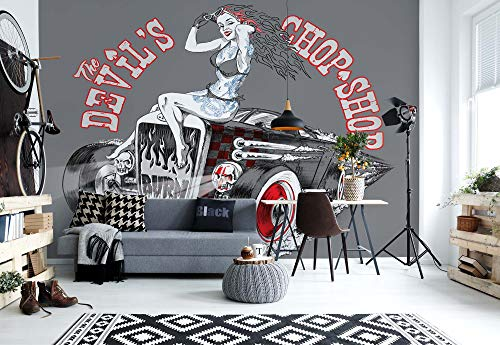 Wallsticker Warehouse Hot Rod Teufel Auto Fototapete - Tapete - Fotomural - Mural Wandbild - (1352WM) - XXL - 368cm x 254cm - Papier (KEIN VLIES) - 4 Pieces