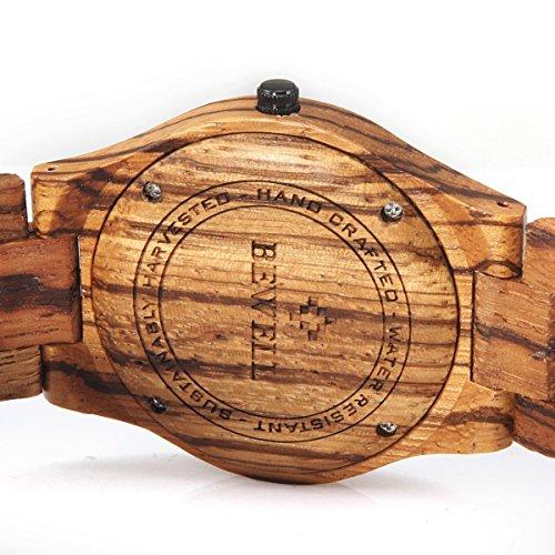 5105Q%2By6mzL - Alienwork Reloj Unisex Relojes Hombre Mujer Madera Zebrano marrón Analógicos Cuarzo Calendario Fecha Impermeable Madera Natural