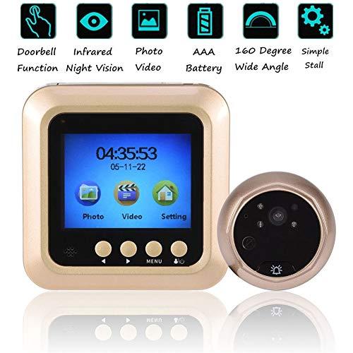 """Richer-R 2.4\"""" LCD Mirilla de Puerta,con Gran Angular de 160 °,Vídeo Cámara de Día y Noche para Seguridad del Hogar,FIFO,Dejar Mensaje de Video,Apoyo Tarjeta TF,3 Modos Timbre,Volumen Ajustable"""