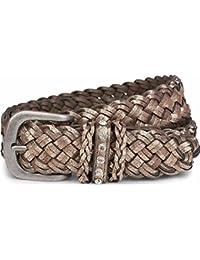 styleBREAKER cinturón en doble óptica trenzada en estilo «vintage» con banda de bisutería de