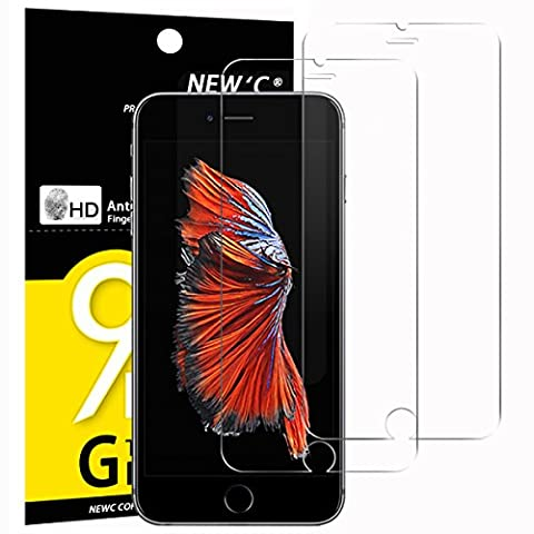 Verre Trempé iPhone 6 / 6S, [ Pack de 2 ] NEWC® Film Protection en Verre trempé écran Protecteur Vitre- ANTI RAYURES - SANS BULLES D'AIR -Ultra Résistant Dureté 9H Glass Screen Protector pour iPhone 6 / 6S