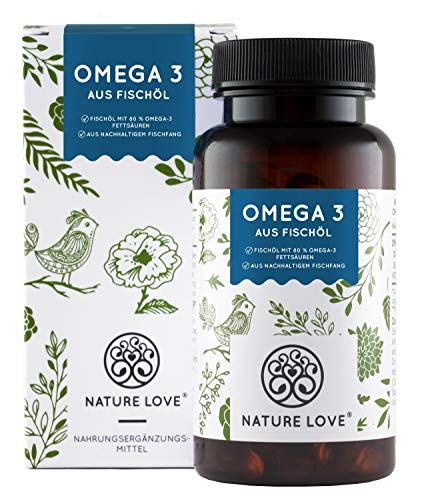 NATURE LOVE® Omega 3 Fischöl - Premium: 80% Omega 3-Fettsäuren (EPA und DHA) je Kapsel - 120 Kapseln - Besonders hohe Reinheit & aus nachhaltigem Fischfang - Laborgeprüft, ohne unerwünschte Zusätze