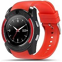 Tookie V8 - Reloj inteligente con Bluetooth, pulsera deportiva, tarjeta SIM GSM, podómetro para Android, 0.02, color rojo