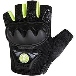 WOSAWE motocicleta guantes al aire libre táctico guantes de montaña, ciclismo, carreras, conducción, caza, verde sin dedos