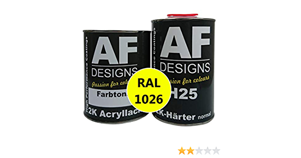 Alex Flittner Designs 2k Acryl Lack Autolack 7 5 Kg Set Ral 1026 Leuchtgelb Glänzend Incl Härter Auto