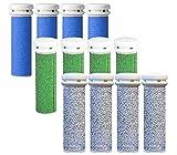 12 x Mikro-Mineral Ersatzrollen für die Emjoi Micro-Pedi 4x Extra, 4x Extreme & 4x Super Grobe Replacement Rollers Compatible With Emjoi Micro Pedi Rollen Ersatzrollen für Hornhautentferner Emjoi Micro Pedi,extra, super & extrem rau, blau, grün & silber, 12 Stück