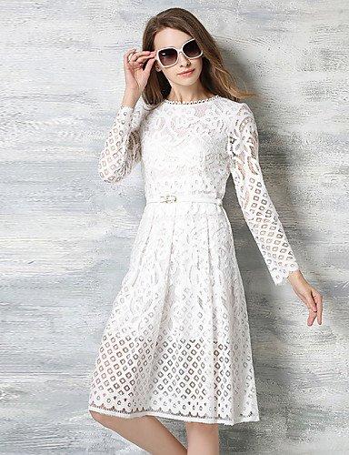 PU&PU Robe Aux femmes Lace Simple,Couleur Pleine Col Arrondi Mi-long Polyester WHITE-M