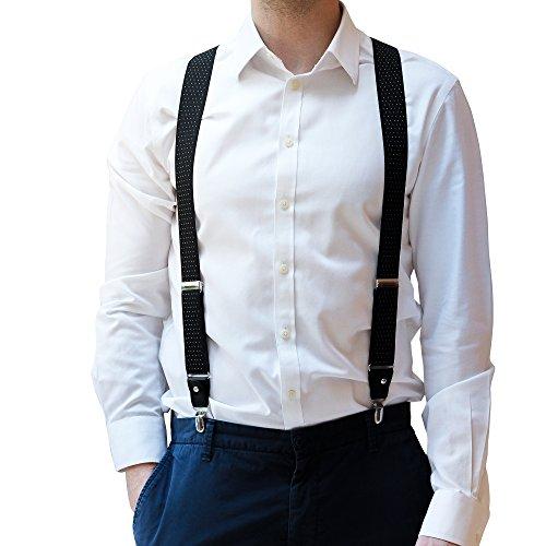 Bretelle da pantaloni per uomo - bretelle forti e resistenti con clip a y sagomate e regolabili & passanti per cintura - taglia unica (nero con pois bianchi)