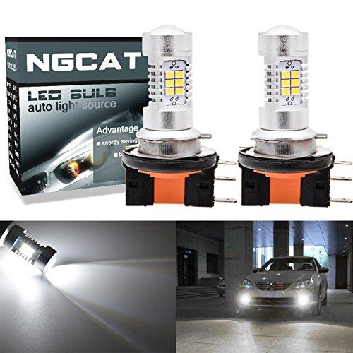 NGCAT - Bombillas LED H15 para coche, repuesto para luces antiniebla y DRL, conjunto de chips de bombillas LED 2835 21 SMD, con proyector de lente para conducción diurna, luz de circulación, en blanco xenón, 10-16V 10,5W, 2 unidades