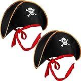 Boao 2 Piezas de Sombrero de Pirata Gorro de Disfraz de Capitán Pirata Impresión de Cráneo Accesorio de Traje Negro para Disfraz de Caribe