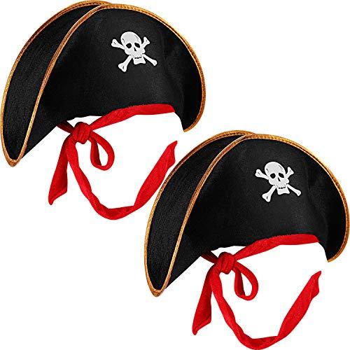 Boao 2 Stück Piraten Hut Schädel Drucken Piraten Kapitän Kostüm Deckel Schwarz Outfit Zubehör für Karibik Kostüm