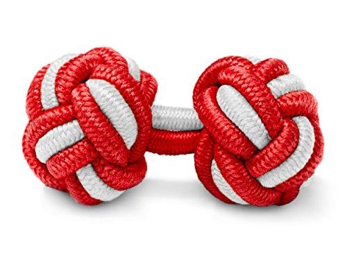 THE SUITS CREW Manschettenknöpfe Seidenknoten Herren Damen Nylon Stoff | Cufflinks Silk Knots für alle Umschlagmanschetten Hemden | Zweifarbig (Rot-Weiss)