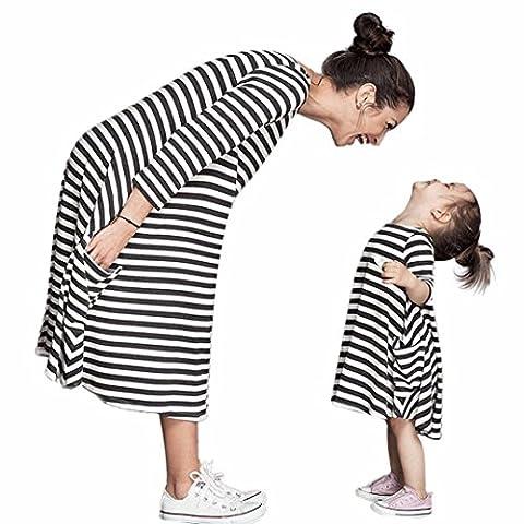 Bekleidung Longra Mama und Kinder Mädchen schwarz und weiß gestreiften Frühjahr Baumwolle Kleider Kleid mit Familie Freizeitkleidung Beiläufig Kleider (120CM (5-6Jahre Kids), Black)