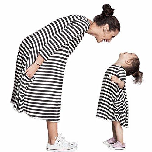 Bekleidung Longra Mama und Kinder Mädchen schwarz und weiß gestreiften Frühjahr Baumwolle Kleider Kleid mit Familie Freizeitkleidung Beiläufig Kleider (Free Size (Mom), Black)