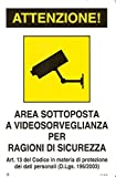 5105UgiDFKL. SL160  I 5 migliori cartelli Area videosorvegliata su Amazon