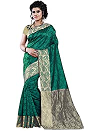 Aracruz Women's Ethnic Clothing Gren Beige Jacquard Cotton Silk Half And Half Pattern Banarasi Style Sarees For...