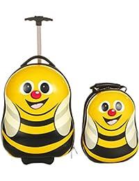 FERGÉ® 1x Kinder-Trolley & 1x Rucksack Child-Trolley&Backpack Kinder-Koffer Hartschale   Handgepäck-Koffer mit Rollen (360°)   Koffer Reisegepäck   PREMIUM-QUALITÄT