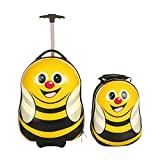FERGÉ 1x Kinder-Trolley & 1x Rucksack Bee Kinder-Koffer neu | Handgepäck-Koffer - Rollen Hartschale mehrfarbig