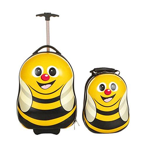 FERGÉ® 1x Kinder-Trolley & 1x Rucksack Bee Kinder-Koffer Hartschale | Handgepäck-Koffer mit Rollen (360°) | Koffer Biene | PREMIUM-QUALITÄT