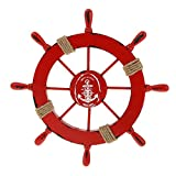 Nautical Beach Wooden Boat Ship Wheel Rudder Home Wall Hanging Decor 4 Colors - red