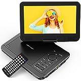 DBPOWER 10.5' Tragbarer DVD Player, Auto DVD Player, Drehbarer Bildschirm mit 5 Stunden Akku Wiederaufladbarer, unterstützt SD-Karte und USB (Schwarz)