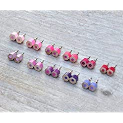 Color Pencil Earring Studs, the Hexagon Version in Pink and Purple