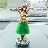 Smyer, statuetta a forma di danzatrice di Hula con gonnellino verde, in posa, per cruscotto dell'auto, idea regalo decorativa in stile hawaiano, altezza circa 11,4cm