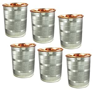 SKAVIJ Copper and Stainless Steel Double Wall Water Tumbler Cups for Yoga Ayurveda Health Benefit, Set of 6, 8.5oz