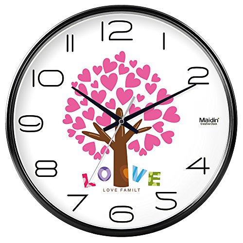 Komo classico ed elegante il quarzo orologio da parete grande silenzioso sweep orologio da parete camera da letto tavolo orologio al quarzo round soggiorno silenzioso sweepso, 14 pollici, base black