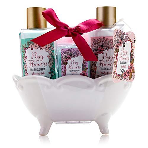 Accentra Badeset Geschenkset für Frauen & Mädchen im dekorativer Vintage Badewanne & zartem Tea Rose & Velvet Duft, 4-teiliges Pflegeset zur Haut- & Körperpflege -