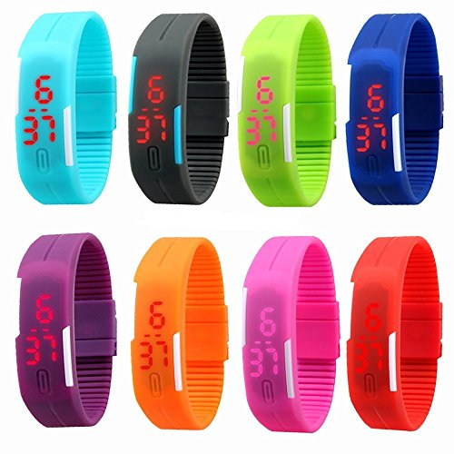 AKSH Kids Favorite Birthday Return Gift Unisex Silicone Jelly Slim Digital Led Bracelet Band Watch for Boys & Girls (Set of 8)