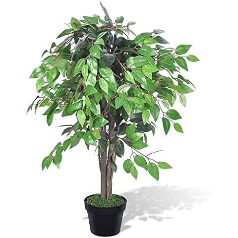 vidaXL Albero Ficus Artificiale con Vaso 90 cm