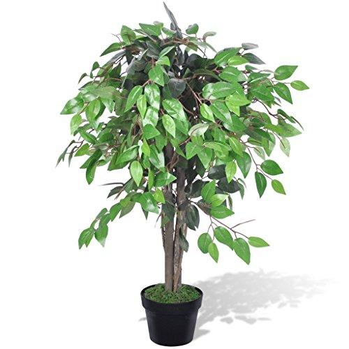 Festnight Kunstpflanze Zimmerpalme Künstliche Ficus mit Topf 90 cm