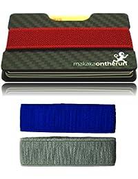 Ultradelgado portatarjeta minimalista (auténtica fibra de carbono). Bloqueo NFC y RFID. (Cartera minimalista, tarjetero slim, tarjetero delgada para hombres, billetera eficiente, tarjetero RFID mini)