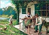 Posterlounge Leinwandbild 130 x 90 cm: EIN Sommertag vor dem Haus 2 von Karl Emil Rau - fertiges Wandbild, Bild auf Keilrahmen, Fertigbild auf echter Leinwand, Leinwanddruck