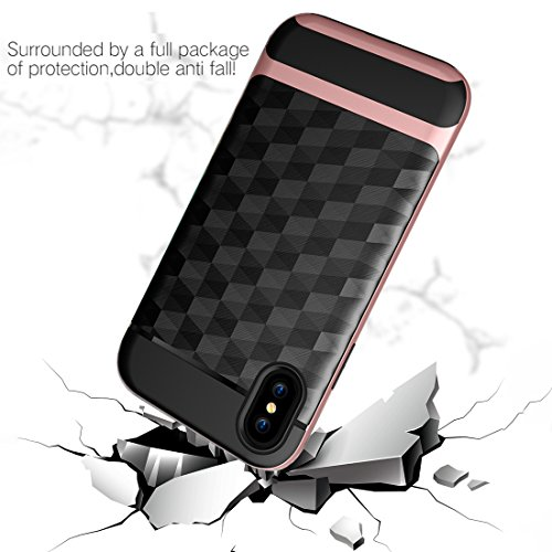 iPhone X Hülle, HICASER Dual Layer Case Shock Proof Prism Textur TPU +PC Bumper Handytasche Schutzhülle für iPhone X Schwarz / Rot Schwarz / Rosen-Gold