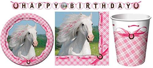 33-teiliges Party Set weisses Pferd Kindergeburtstag Geburtstag Party Fete Feier 8 Teller, 8 Becher, 16 Servietten, 1 Partykette