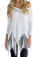 Women's Tassel Pleated Asymmetric Long Sleeve Shirt Blouse (UK 6, White)