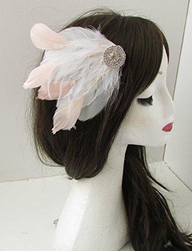 Argent Blanc Blush Rose Plumes Cheveux Clip Races mariée vintage B05 * * * * * * * * exclusivement vendu par – Beauté * * * * * * * *