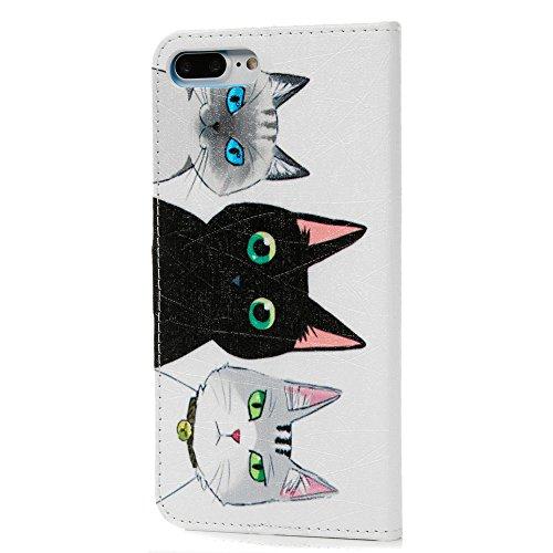 iPhone 7 Plus Custodia Cover, Lanveni Flip Copertina PU pelle per iPhone 7 Plus 5.5 pollici Portafoglio Libro Protective Case con Chiusura Magnetica e Funzione di Supporto - Modello Gatto e Pesci Form Disegno 7