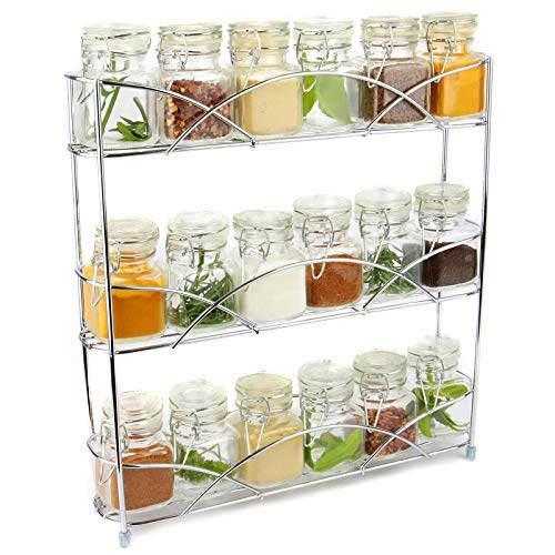 Organizador de racks de hierbas y especias de 3 niveles | Diseño moderno antideslizante independiente | Diseño universal | Solución de almacenamiento de cocina y despensa | M&W Cromo