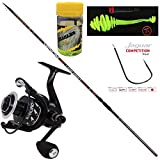 Super Kit TREMARELLA Trota Lago,Canne da Pesca per la Trota Lago Trabucco Venom + Mulinello Nomura Kuro + VASETTO Mini Soft BAITS Ringo Tail 50 mm + Amo a Filo Sottile in Platinum Extra Misura 6