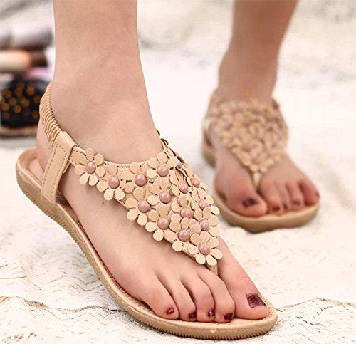 sandales plates femmes avec des sandales plates sandales orteil clip glisseraient beige