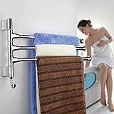 BONADE® Handtuchhalter mit 3 Armen - bewegliche Handtuchstange Badetuchhalter mit kleiderhaken Wandhandtuchhalter Türhandtuchhalter