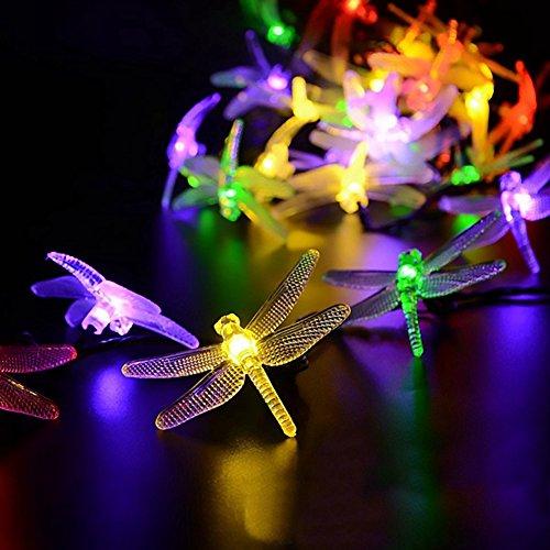 (elegantstunning Lichterkette 20 LED 2 Mt Solar Dragonfly Form Wasserdichte Energiesparende Landschaft lampe Hausgarten Terrasse Rasen Weihnachten Urlaub Party Dekorationen)