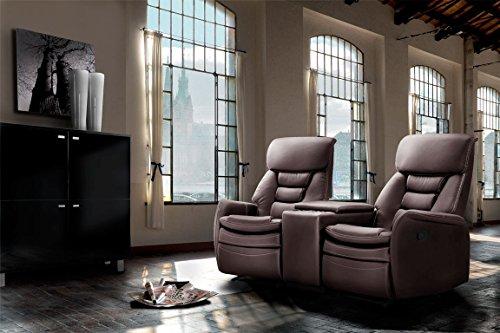 lifestyle4living Kinosessel 2-Sitzer, Kunstleder, dunkelbraun | Hochwertiger 2er Cinema-Sessel/Sofa mit Getränkehalter & Liegefunktion für entspannte Heimkino-Abende