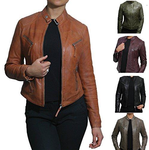 Brandslock Frauen echtes Bikerjacke aus Leder Lambskin Vintage-Lederjacke (S/8, bräunen) (Braune Leder Jacke Echt)